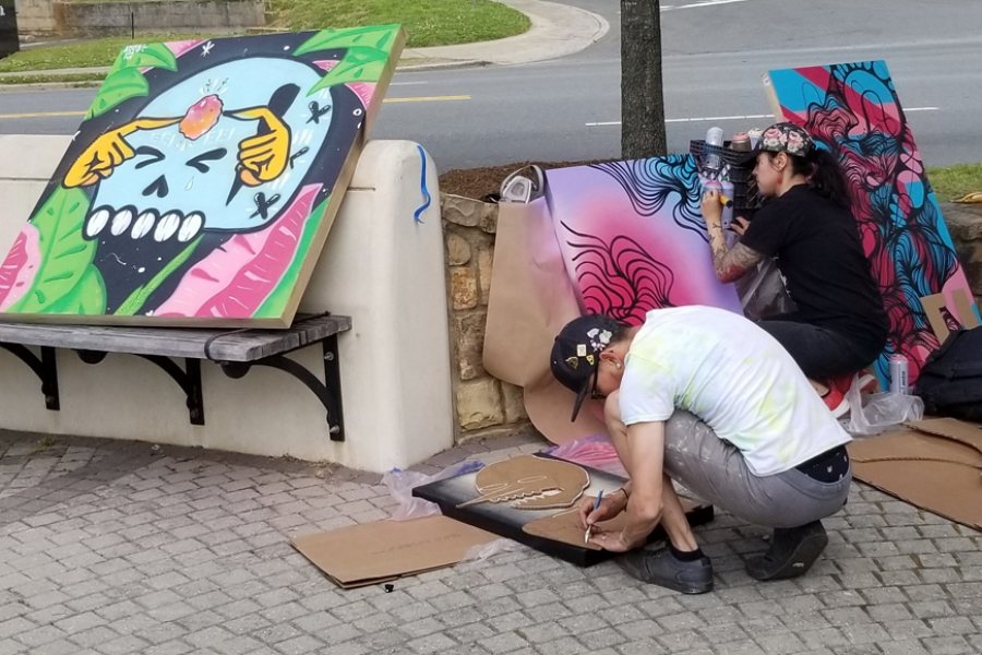 9. Artists Arko & Owl from Southern Tiger Collective LIVE painting!